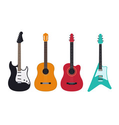 Guitar set acoustic classical electric vector