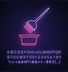 Hair coloring tools neon light icon tint mixing vector