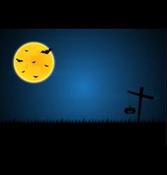 halloween bat moon cross pumpkin vector image vector image