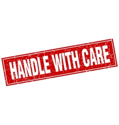 Handle with care red square grunge stamp on white vector