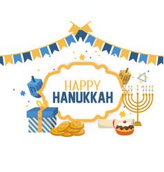 Happy hanukkah celebration with religion ceremony vector