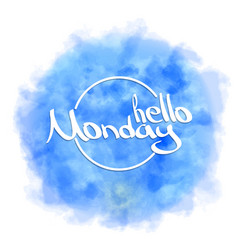 hello monday hand painted brush pen calligraphy vector image
