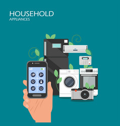 household appliances flat style design vector image