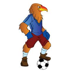humanoid eagle playing soccer vector image