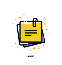 icon of yellow sticky note with text for office vector image