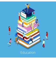 Isometric Education Graduation Books and Students vector image
