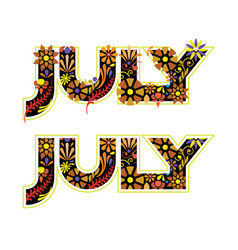 July word decorated with flowers and leaves vector