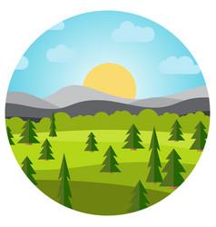 Landscape with field and trees vector