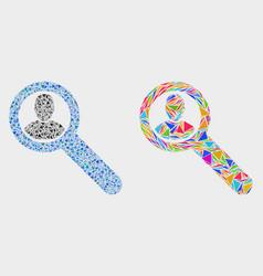 Locate user mosaic icon triangle items vector