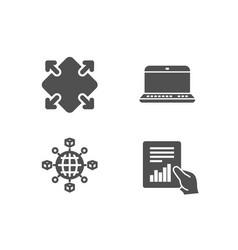 Logistics network notebook and maximize icons vector