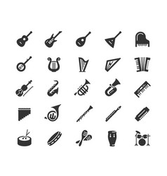 musical instruments icon set in glyph style vector image