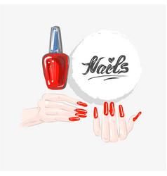 Nail art and red nail polish beautiful female vector