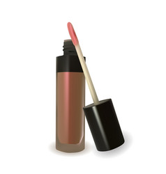 Nude lip gloss on white background vector