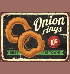 onion rings retro restaurant sign vector image