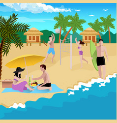 people on beach background vector image