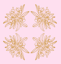 pink and gold french toile floral seamless repeat vector image
