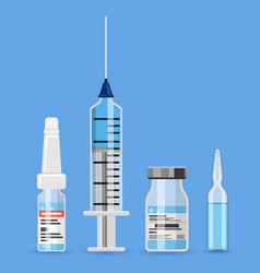 plastic medical syringe and vaccine vial icon vector image