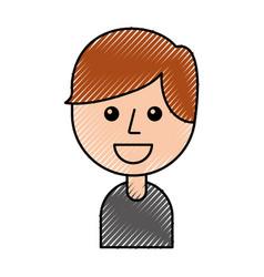 portrait of happy young boy smiling cartoon vector image