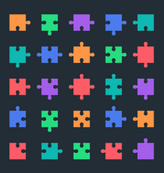 puzzle icons set jigsaw pieces vector image