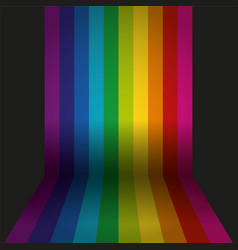 Rainbow colored wall with floor background vector