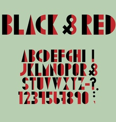 Red black font numbers and punctuation mark in vector