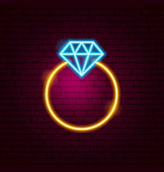 ring with diamond neon sign vector image