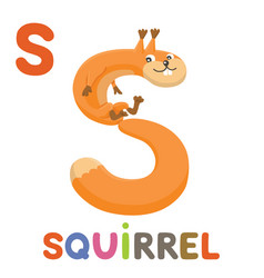 s is for squirrel letter s squirrel cute animal vector image