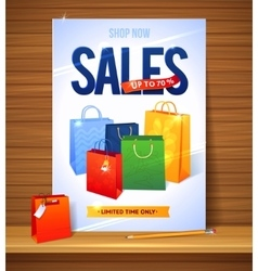 Sale poster shopping paper bags of vector image