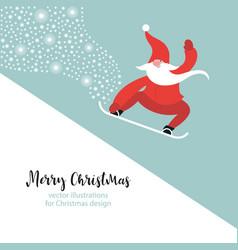santa snowboarding vector image