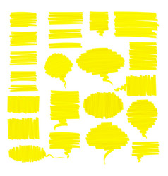 scribbled realistic highlighter pen speech bubbles vector image