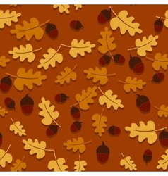 Seamless autumn background with oak leaves vector
