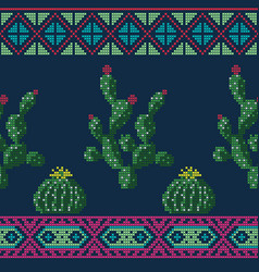 Seamless cross stitches cactuses floral pattern vector