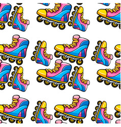 Seamless pattern tile cartoon with rollerblades vector