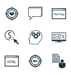 Set of 9 seo icons includes keyword marketing vector