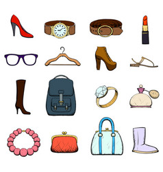 set of clothing and accessories vector image