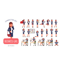 set successful businesswoman character poses vector image