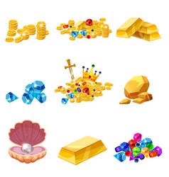 set treasure gold coins rock gold nugget bars vector image