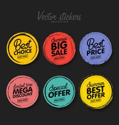 set vintage colorful labels for greetings and vector image