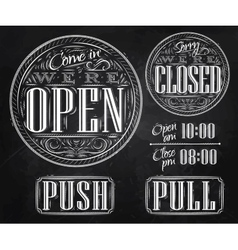 Set vintage open closed chalk vector