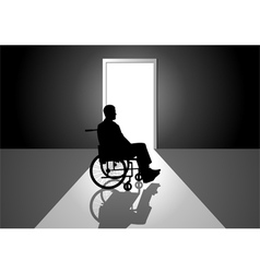 silhouette a person on a wheelchai vector image