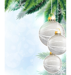 Silver Christmas decorations vector image