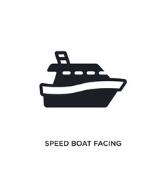 Speed boat facing right isolated icon simple vector