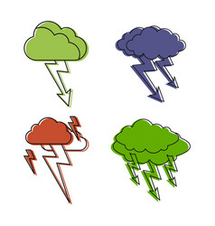storm cloud icon set color outline style vector image