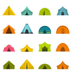 Tent forms icons set in flat style vector