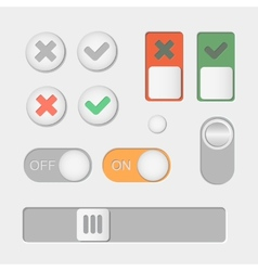 Toggle switch icons On and Off Check Mark vector