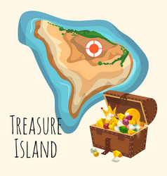 treasure island with chest golden crown vector image