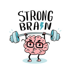 Very strong cartoon brain concept doodle style vector