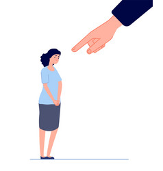 Victim blaming female fear hand pointing vector