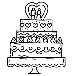 Wedding cake icon doddle hand drawn or black vector