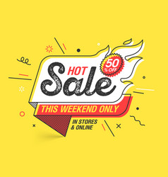 weekend hot sale banner template in flat trendy vector image